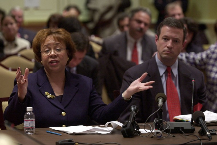 Baltimore City State's Attorney, Patricia C. Jessamy and Mayor Martin O'Malley testify about the early disposition program before the Public Safety, Transportation and Environment Subcommittee of the Senate Budget and Taxation Committee. Lloyd Fox, Baltimore Sun