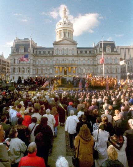 Mayor Martin O'Malley 's Inauguration in War Memorial Plaza. Jed Kirschbaum, Baltimore Sun