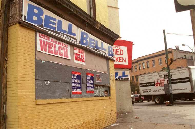 Oct. 26, 2000: Political signs on the side of a building at North Ave and Druid Hill Ave. (Barbara Haddock Taylor/Baltimore Sun)
