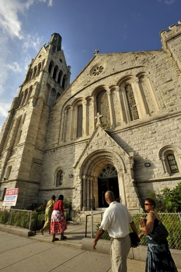 8/30/09: The Bethel A.M.E. congregation returned to its historic Druid Hill Avenue church for services after a two-alarm fire on July 1st caused by a lightning strike damaged the steeple and left water and fire damage. (Amy Davis/Sun Photographer)
