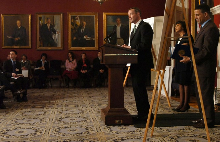 Gov. Martin O'Malley, T. Eloise Foster, budget secretary, and Lt. Gov. Anthony Brown present the FY 2008 budget for the State of Maryland in the Governor's Reception Room. Kim Hairston, Baltimore Sun