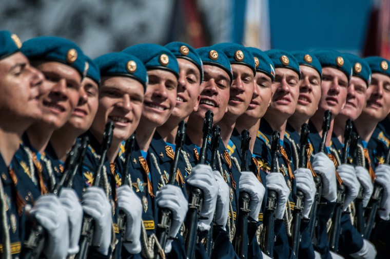 Soldiers march in formation during the celebration in Moscow marking the 70th anniversary of the victory over Nazi Germany and the end of World War II. Celebrations are taking place throughout the day across the city. Most European leaders have snubbed the parade because they accuse Russia of actively interfering the war in eastern Ukraine. (Alexander Aksakov/Getty Images)