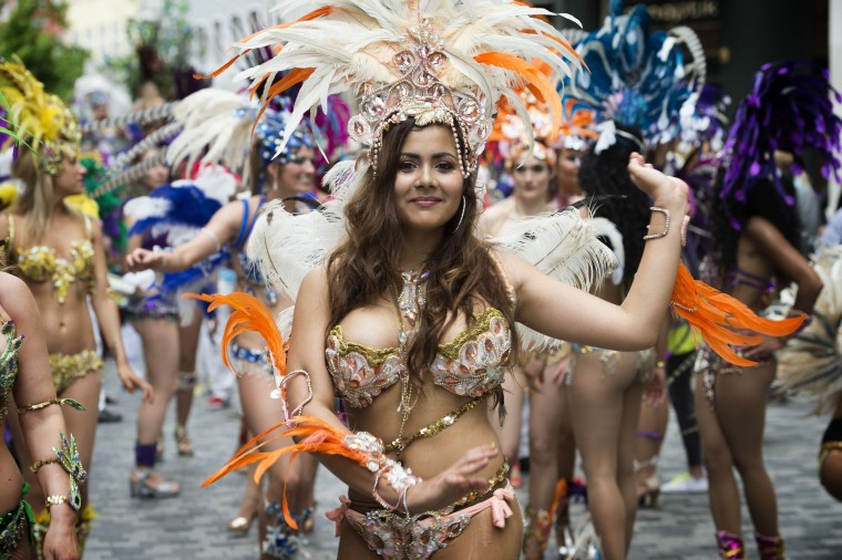 People dance during the Copenhagen Carnival parade. (Jens Noergaard LarsenAFP-Getty Images)
