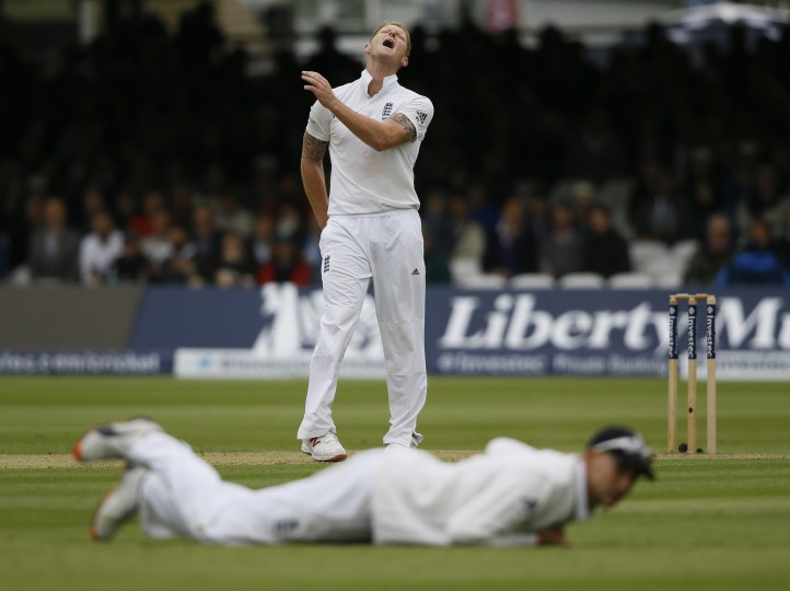 England's Ben Stokes shouts after bowling as a chance is missed during the third day of the first Test match between England and New Zealand at Lord's cricket ground in London. (Kirsty Wigglesworth/Associated Press)
