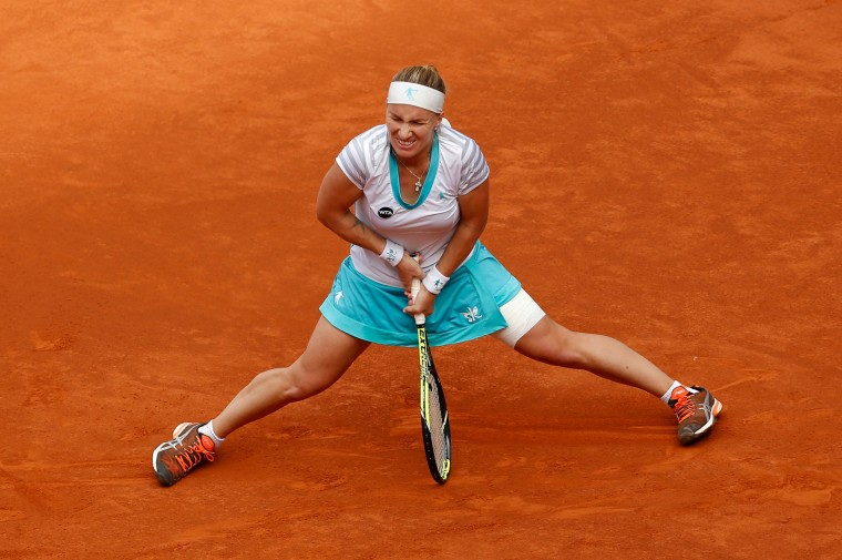 Svetlana Kuznetsova of Russia reacts during the women's final against Petra Kvitova of the Czech Republic at the Madrid Open Tennis tournament in Madrid, Spain. (Daniel Ochoa de Olza/Associated Press)