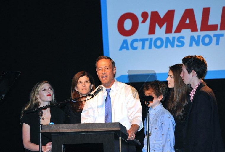 Democratic presidential candidate Martin O'Malley tells a small gathering of supporters that he will suspend his presidential campaign February 1, 2016 in Des Moines, Iowa. O'Malley finished with about one percent of the vote behind former Secretary of State Hillary Clinton and U.S. Sen. Bernie Sanders (I-VT). (Steve Pope/Getty Images)