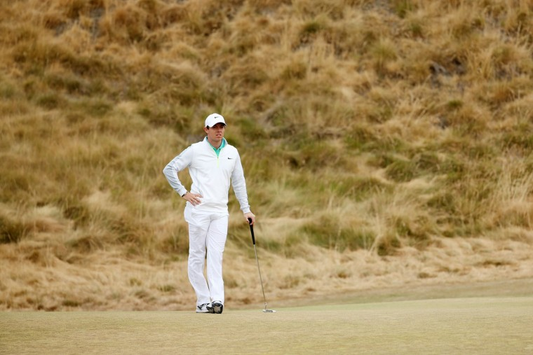 Rory McIlroy of Northern Ireland waits on the 11th green during the first round of the 115th U.S. Open Championship at Chambers Bay on June 18, 2015 in University Place, Washington. (Photo by Mike Ehrmann/Getty Images)