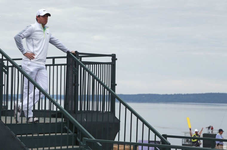 Rory McIlroy waits to play on the 11th hole during the first round of the U.S. Open golf tournament at Chambers Bay on Thursday, June 18, 2015 in University Place, Wash. (AP Photo/Charlie Riedel)