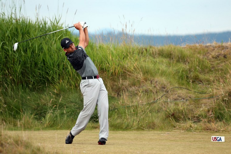 Sergio Garcia of Spain hits his tee shot on the 11th hole during the first round of the 115th U.S. Open Championship at Chambers Bay on June 18, 2015 in University Place, Washington. (Photo by Mike Ehrmann/Getty Images)