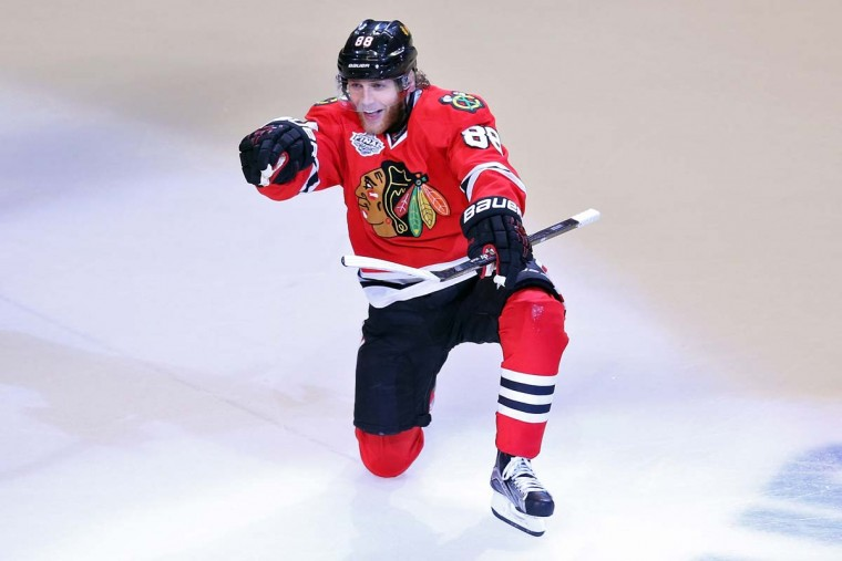 Patrick Kane #88 of the Chicago Blackhawks celebrates after scoring a goal in the third period against the Tampa Bay Lightning during Game Six of the 2015 NHL Stanley Cup Final at the United Center on June 15, 2015 in Chicago, Illinois. (Photo by Jonathan Daniel/Getty Images)