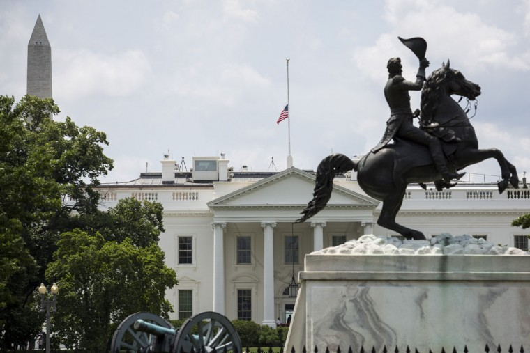 A flag atop White House flies at half-staff in honor of Beau Biden, on June 6, 2015, in Washington, DC. President Obama is traveling to Wilmington, Delaware to deliver a eulogy for Beau Biden the son of Vice President Joe Biden after he died at 46 following a two-year battle with brain cancer. (Photo by Drew Angerer-Pool/Getty Images)