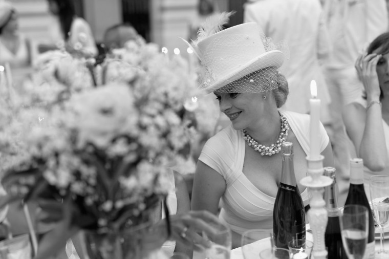 An alternative view of a guest at the 27th 'Diner En Blanc' - Dinner In White In Paris on June 11, 2015 in Paris, France. (Photo by Pascal Le Segretain/Getty Images)