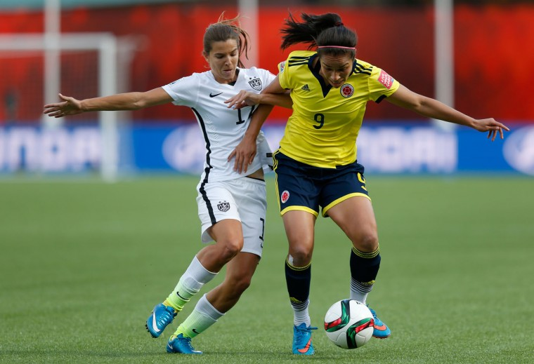 Orianica Velasquez #9 of Colombia controls the ball against Tobin Heath #17 of the United States in the first half in the FIFA Women's World Cup 2015 Round of 16 match at Commonwealth Stadium on June 22, 2015 in Edmonton, Canada. (Todd Korol/Getty Images)