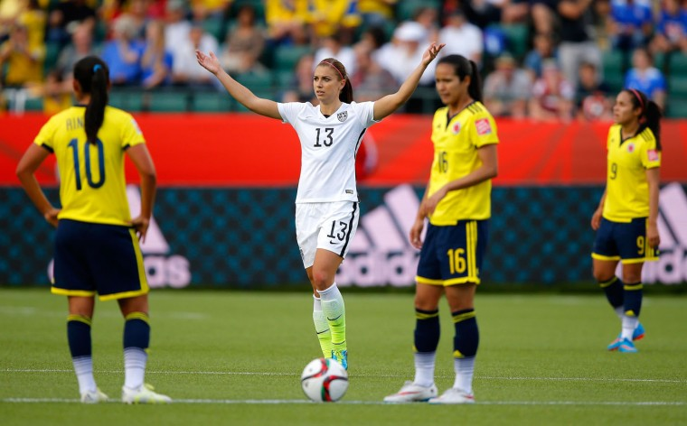 Alex Morgan #13 of the United States reacts in the second half while taking on Colombia in the FIFA Women's World Cup 2015 Round of 16 match at Commonwealth Stadium on June 22, 2015 in Edmonton, Canada. (Kevin C. Cox/Getty Images)