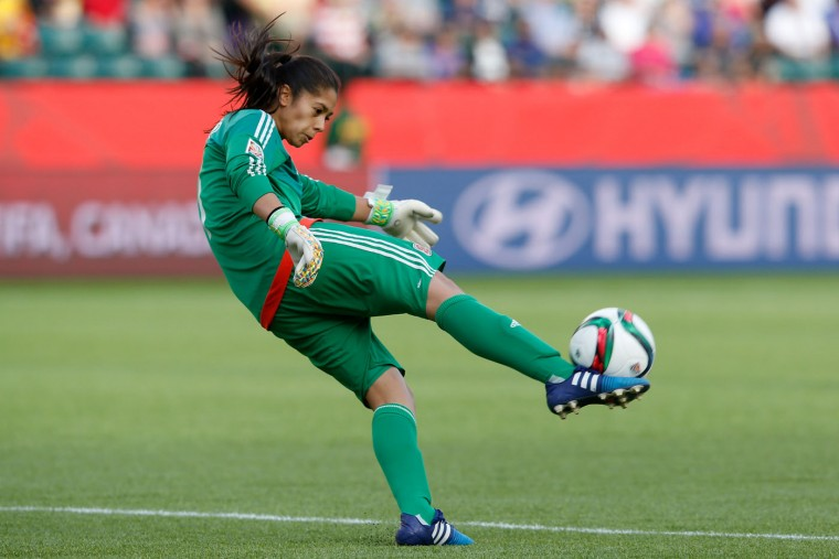 Goalkeeper Stefany Castano #1 of Colombia kicks the ball in the second half against the United States in the FIFA Women's World Cup 2015 Round of 16 match at Commonwealth Stadium on June 22, 2015 in Edmonton, Canada. (Todd Korol/Getty Images)