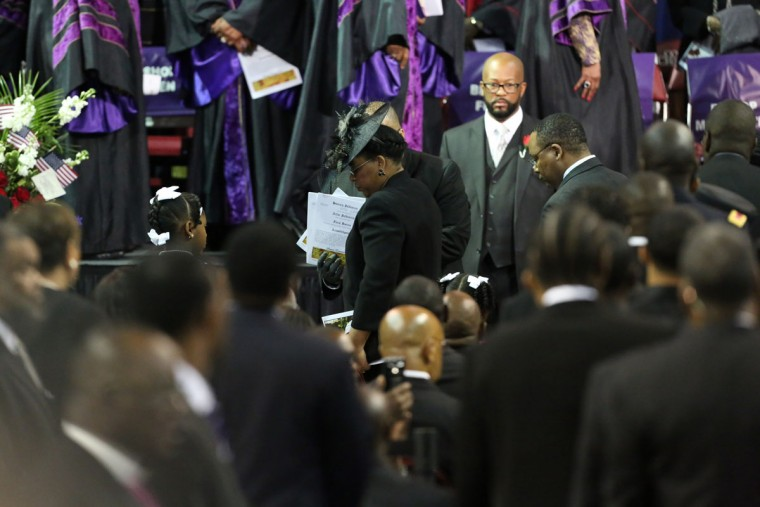 Jennifer Pinckney the wife of South Carolina State Sen. Clementa Pickney arrives for his funeral at the College Charleston TD Arena, he was killed during the mass shooting at the Emanuel African Methodist Episcopal Church along with eight others on June 26, 2015 in Charleston, South Carolina. Suspected shooter Dylann Roof, 21 years old, is accused of killing nine people on June 17th during a prayer meeting in the church, which is one of the nation's oldest black churches in Charleston. (Photo by Grace Beahm-Pool/Getty Images)