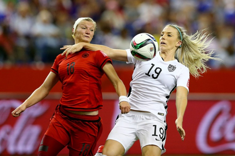 Julie Johnston #19 of the United States fouls Alexandra Popp #18 of Germany in the box and is called for a penalty in the second half in the FIFA Women's World Cup 2015 Semi-Final Match at Olympic Stadium on June 30, 2015 in Montreal, Canada. (Elsa/Getty Images)