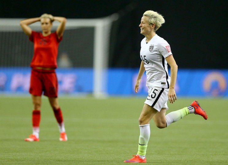 Megan Rapinoe #15 of the United States after USA defeats Germany 2-0 in the FIFA Women's World Cup 2015 Semi-Final Match at Olympic Stadium on June 30, 2015 in Montreal, Canada. (Elsa/Getty Images)