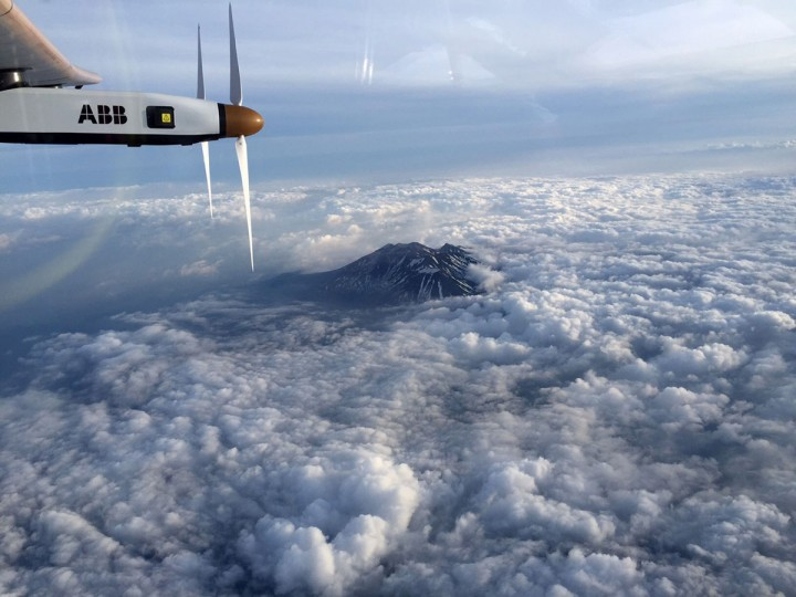 This handout picture taken by Solar Impulse 2 pilot Andre Borschberg shows a section of the solar powered plane as it flies over the Nagano mountain region in direction of Nagoya, Japan on June 1, 2015. Solar Impulse 2 will land in the Japanese city of Nagoya, organisers said on June 1, 2015, as bad weather delayed a landmark attempt by a solar plane to cross the Pacific Ocean. (AFP Photo/Handout / )