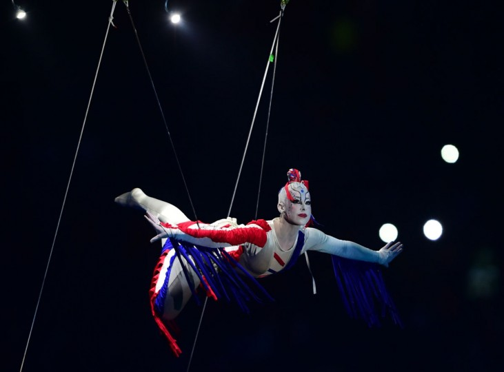 Artists perform during the Copa America inauguration ceremony at the Nacional stadium in Santiago, on June 11, 2015. Chile will face Ecuador in the inauguration match. (AFP Photo/Martin Bernetti)