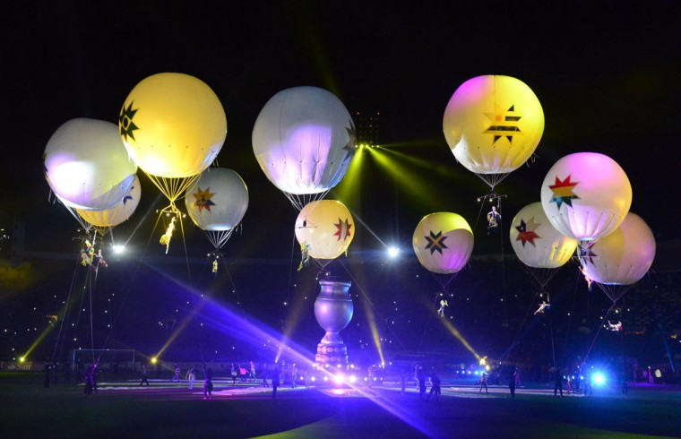 Artists perform during the Copa America inauguration ceremony at the Nacional stadium in Santiago, on June 11, 2015. Chile will face Ecuador in the inauguration match. (AFP Photo/Pablo Porciuncula)