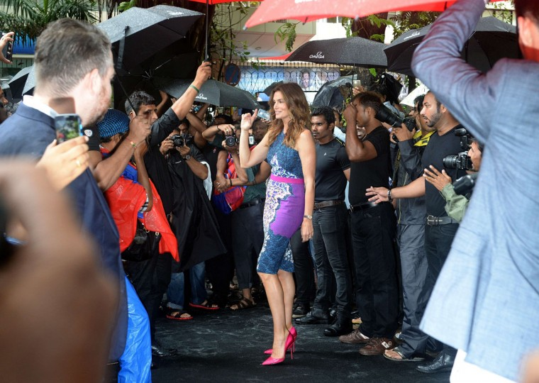 US model Cindy Crawford poses as she arrives for a promotional event in Mumbai on June 18, 2015. (INDRANIL MUKHERJEE/AFP/Getty Images)