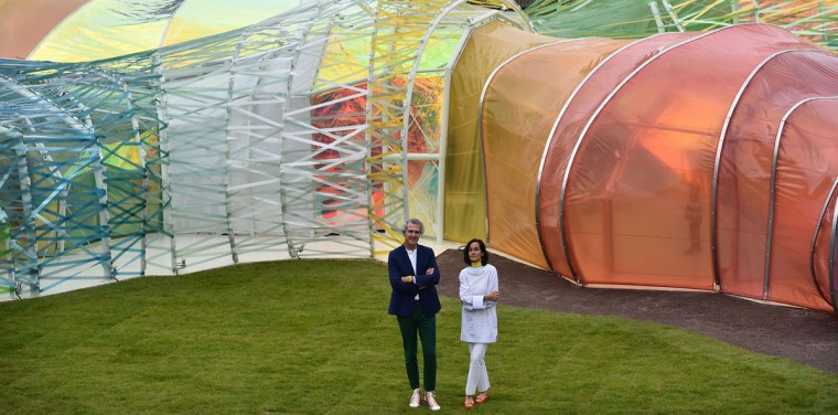 Spanish architects Lucia Cano (right) and Jose Selgas pose by their Serpentine pavilion structure at the Serpentine Gallery in London on June 22, 2015. For the last 15 years the Serpentine gallery has invited artists and architects to produce a temporary structure in the gardens of the gallery. (BEN STANSALL/AFP/Getty Images)