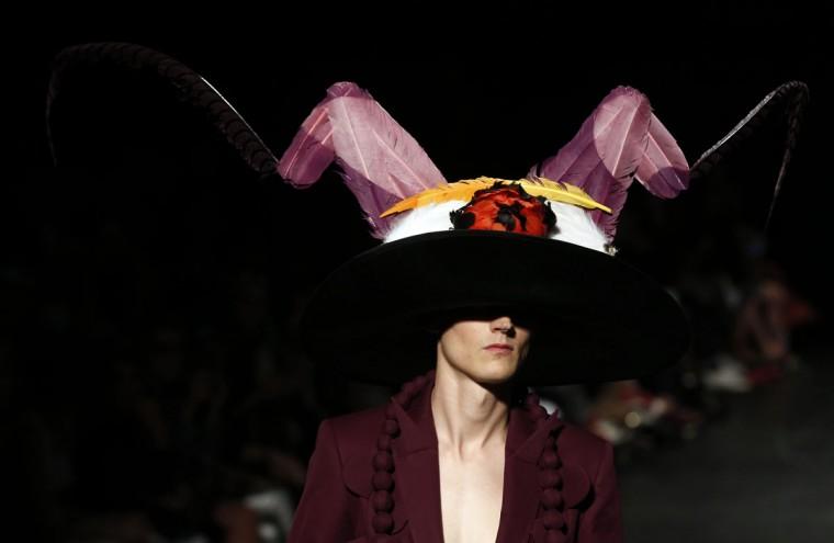 A model presents a creation by Belgian designer Walter Van Beirendonck during men's Spring/Summer collection fashion show in Paris on June 24, 2015. (FRANCOIS GUILLOT/AFP/Getty Images)