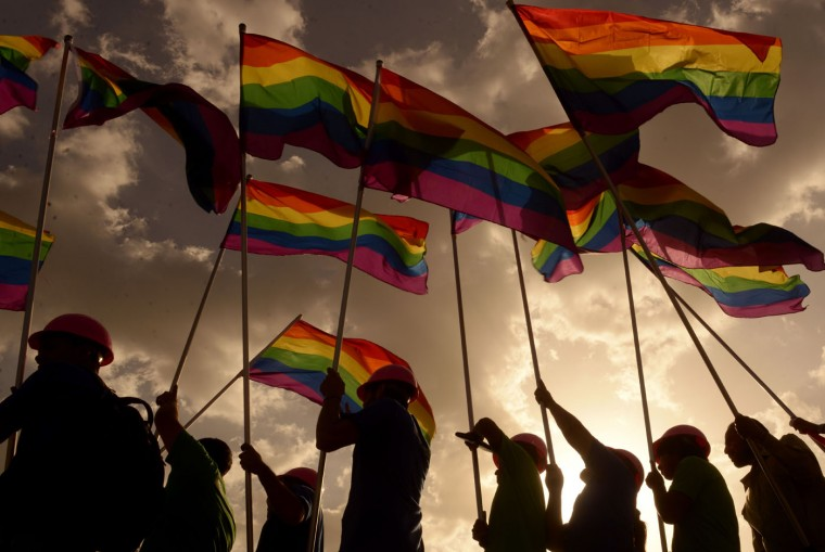 Revelers take part in the Gay Pride Parade in San Salvador, El Salvador, on June 27, 2015. (Marvin Recinos/AFP/Getty Images)