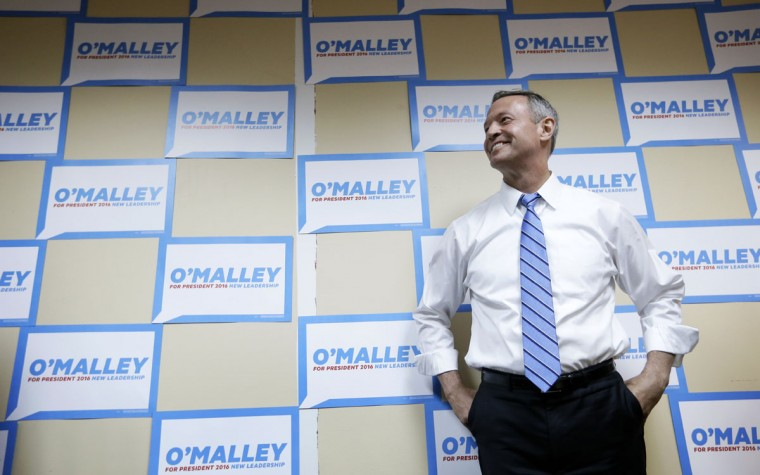 Democratic presidential candidate former Maryland Gov. Martin O'Malley waits to speak to supporters at his campaign headquarters, Saturday, May 30, 2015, in Des Moines, Iowa. (AP Photo/Charlie Neibergall)