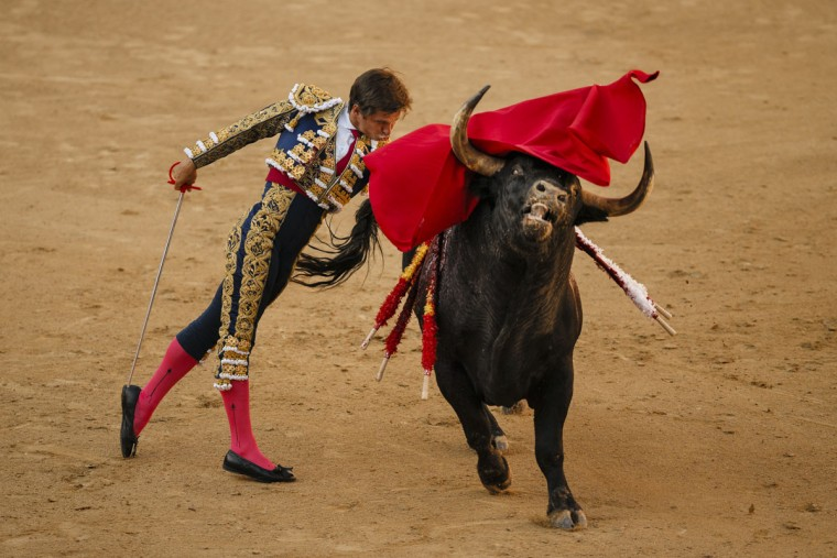 Spanish bullfighter Julian Lopez 'El Juli' performs with an Alcurrucen's ranch fighting bull during a bullfight of the San Isidro fair Madrid, Spain, Wednesday, May 27, 2015. San Isidro's bullfighting fair is one of the most important in the world. Bullfighting is an ancient tradition in Spain. (AP Photo/Daniel Ochoa de Olza)