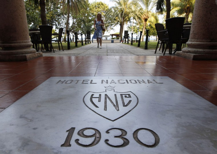 FILE - This April 18, 2012 file photo shows a stone marking the year when the world-famous Hotel Nacional was constructed in Havana, Cuba. In the past, Winston Churchill, actors John Wayne and Ava Gardner were among the more famous hotel guests to stay at the Nacional. The hotel has a commanding view of Havana Bay. (AP Photo/Kathy Willens)