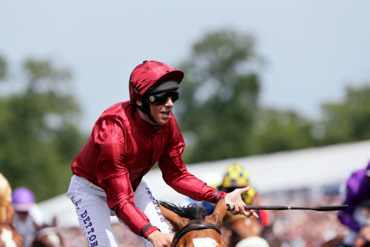 Frankie Dettori on Star of Seville reacts as he wins the Prix de Diane horse race, a 2100-metre flat horse race open to fillies, in Chantilly, north of Paris, France, Sunday, June 14, 2015. (AP Photo/Thibault Camus)