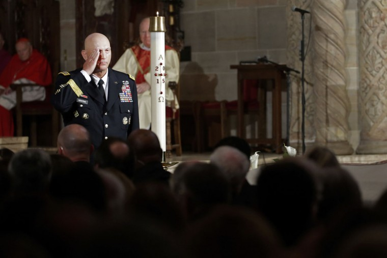 Army Chief of Staff Gen. Raymond Odierno salutes the casket of former Delaware Attorney General Beau Biden during funeral services, Saturday, June 6, 2015, at St. Anthony of Padua Church in Wilmington, Del. Biden, Vice President Joe Biden's eldest son, died at the age of 46 after a battle with brain cancer. (AP Photo/Pablo Martinez Monsivais)