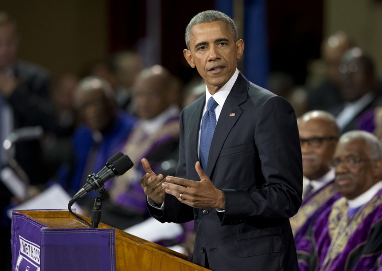 President Barack Obama speaks during services honoring the life of Reverend Clementa Pinckney, Friday, June 26, 2015, at the College of Charleston TD Arena in Charleston, S.C. Pinckney was one of the nine people killed in the shooting at Emanuel AME Church last week in Charleston. (AP Photo/Carolyn Kaster)