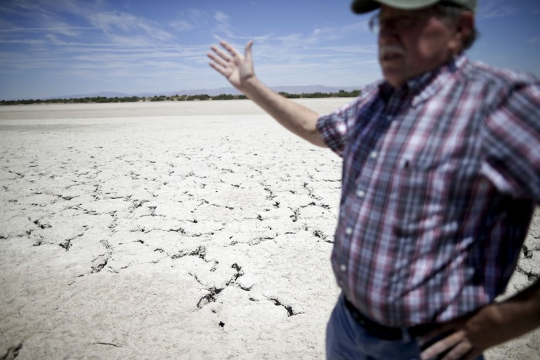 In this April 30, 2015, photo, Bruce Wilcox of the Imperial Irrigation District speaks during an interview in front of cracked, exposed Salton Sea lakebed near Niland, Calif. The lakeís shrinkage has exposed about 25 square miles of salt-encrusted lakebed since 2003, with more likely to come. (AP Photo/Gregory Bull)