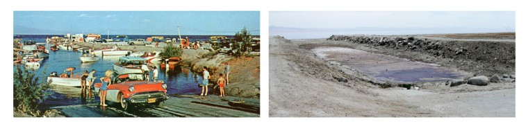 In this composite picture made up of a 1960s postcard handout image, left, and a May 1, 2015, photo, a boat ramp is seen in the 1960's and in present day near Salton City, Calif. The Salton Sea, an area that once drew more visitors than Yosemite National Park, now faces a looming calamity as coastal Southern California clamors for more water. (Al Scott/via AP /AP Photos/Gregory Bull)