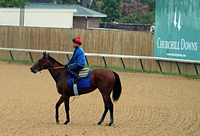 Kentucky Derby and Preakness Stakes winner American Pharoah, with jockey Martin Garcia aboard, turns to head back to the barn and his final timed workout at Churchill Downs in Louisville, Ky., Monday, June 1, 2015. The colt will ship to New York on Tuesday for the Belmont Stakes horse race ob June 6. (AP Photo/Garry Jones)