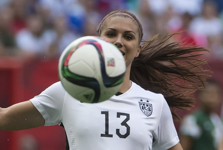 United States' Alex Morgan keeps her eye on the ball during the first half of a FIFA Women's World Cup soccer match against Nigeria, Tuesday, June 16, 2015 in Vancouver, New Brunswick, Canada. (Jonathan Hayward/The Canadian Press via AP)