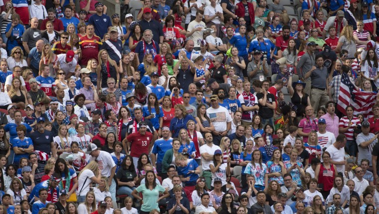 Fans watch the United States and Nigeria during the first half of a FIFA Women's World Cup soccer match, Tuesday, June 16, 2015 in Vancouver, New Brunswick, Canada. (Jonathan Hayward/The Canadian Press via AP)