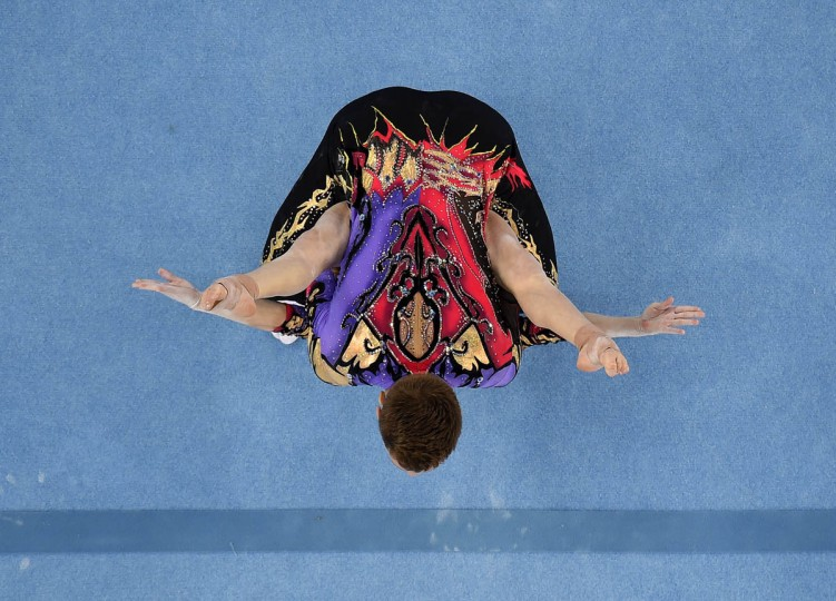 Marina Chernova and Georgy Pataraya of Russia compete in the Gymnastic Acrobatic Mixed Pair Dynamic Qualification during day five of the Baku 2015 European Games at the National Gymnastics Arena in Baku, Azerbaijan. (Matthias Hangst/Getty Images)