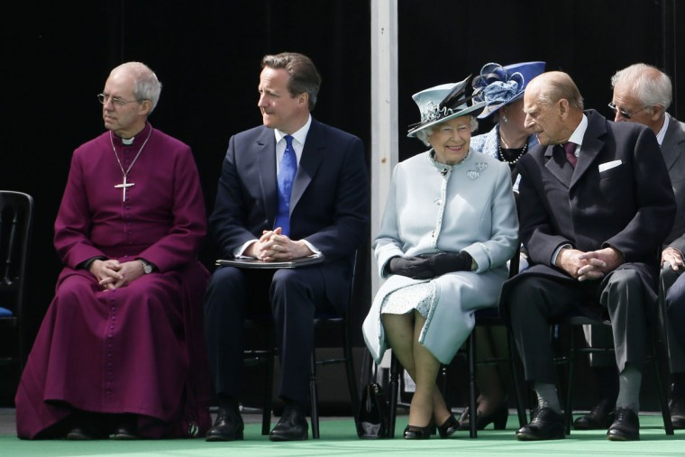 The Archbishop of Canterbury Justin Welby, Britain's Prime Minister David Cameron, Queen Elizabeth II and Prince Philip, Duke of Edinburgh attend a service to mark the 800th anniversary of Magna Carta on June 15, 2015 in Runnymede, United Kingdom. Members of the Royal Family are visiting Runnymede to attend an event commemorating the 800th anniversary of Magna Carta. Magna Carta is widely recognised as one of the most significant documents in history. Its influence, as a cornerstone of fundamental liberties, is felt around the world in the constitutions and political traditions of countless nations. (Photo by Stefan Wermuth - WPA Pool / Getty Images)