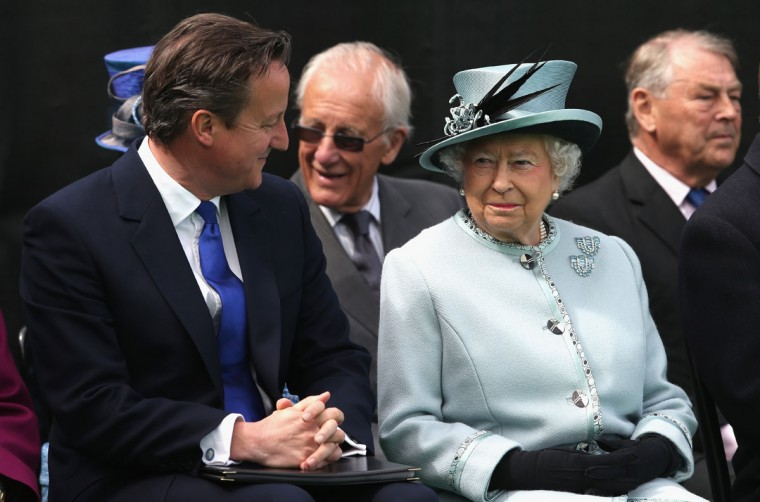 Seated near the Magna Carta memorial at Runnymede, England, Britain's Prime Minister David Cameron, talks with Queen Elizabeth II, ahead of a commemoration ceremony Monday June 15, 2015, to celebrate the 800th anniversary of the groundbreaking accord called Magna Carta. In 1215, Britain's King John met disgruntled barons at Runnymede and agreed to a list of basic rights and laws which have formed the basic tenets of modern civil liberties which exist today, and was an inspiration for the U.S. Constitution among many other worldwide influences. (Chris Jackson / Pool photo via AP)