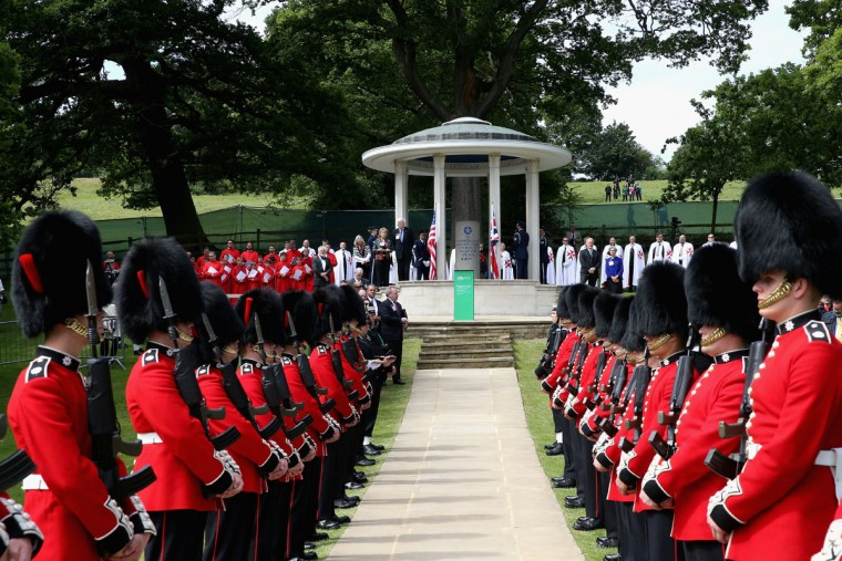Soldiers stand on parade at a Magna Carta 800th Anniversary Commemoration Event on June 15, 2015 in Runnymede, United Kingdom. Members of the Royal Family are visiting Runnymede to attend an event commemorating the 800th anniversary of Magna Carta. Magna Carta is widely recognised as one of the most significant documents in history. Its influence, as a cornerstone of fundamental liberties, is felt around the world in the constitutions and political traditions of countless nations. (Photo by Chris Jackson - WPA Pool / Getty Images)