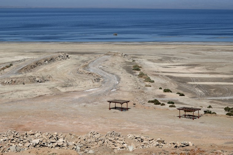 Former boat launches no longer connect with the Salton Sea in Imperial County, California. The ongoing drought, along with improved agricultural methods, has diminished the size of the sea, creating a new set of environmental concerns. Bonnie Jo Mount/Washington Post