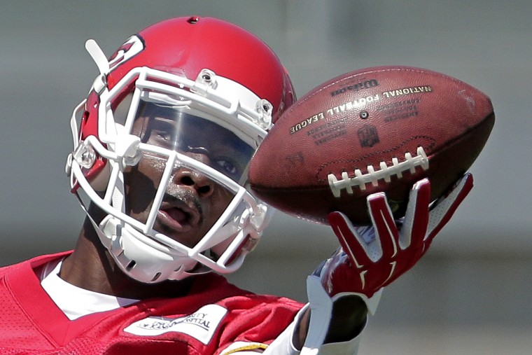 Kansas City Chiefs wide receiver Da'Rick Rogers participates in a drill during an NFL football organized team activity in Kansas City, Mo. (Charlie Riedel/Associated Press)