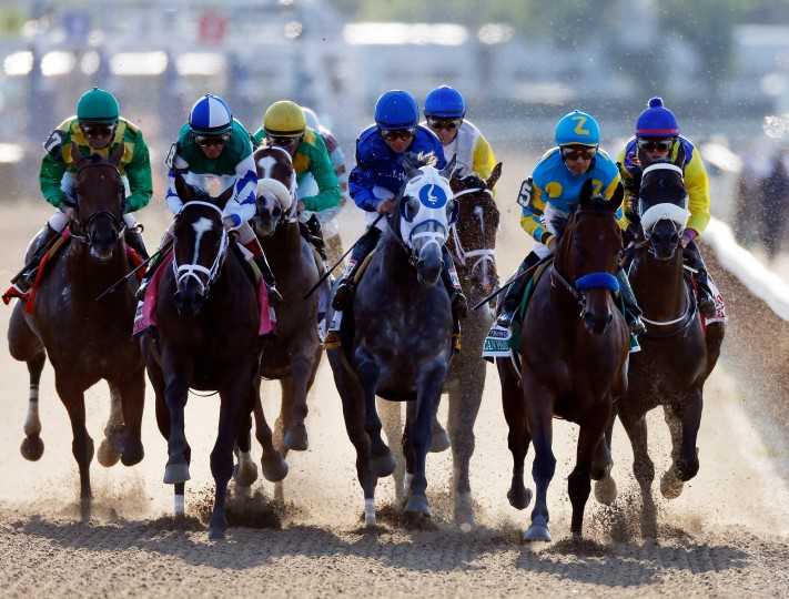 American Pharoah #5, ridden by Victor Espinoza, during the 147th running of the Belmont Stakes at Belmont Park in Elmont, New York. (Scott Halleran/Getty Images)
