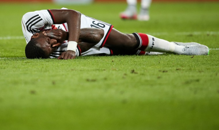 Antonio Ruediger of Germany reacts during the International Friendly match between Germany and USA at RheinEnergieStadion in Cologne, Germany. (Simon Hofmann/Bongarts/Getty Images)