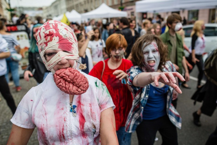 Brains! Revelers take part in the Zombiewalk, an annual parade of Zombie movie enthusiasts, in Warsaw. (Wojtek Radwanski/AFP-Getty Images)