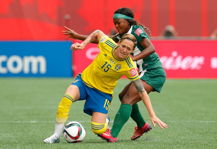 Francisca Ordega of Nigeria fouls Therese Sjogran of Sweden during a FIFA Women's World Cup Canada 2015 Group D match at Winnipeg Stadium on June 8, 2015 in Winnipeg, Canada. (Photo by Kevin C. Cox/Getty Images)